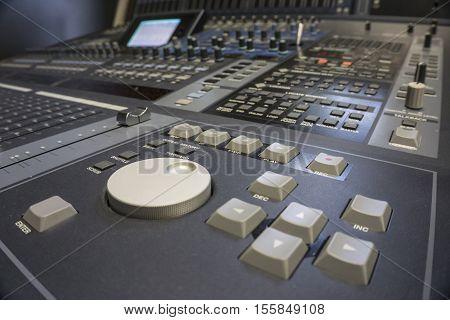 Professional Audio Production Switcher of Television Broadcast Studio
