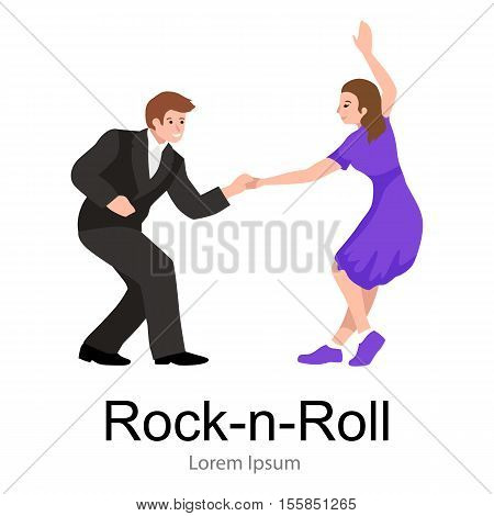 Young couple dancing lindy hop or swing in a formation, man and woman Rock and Roll dancing, vector illustration, isolated on white, people girl and boy have fun party