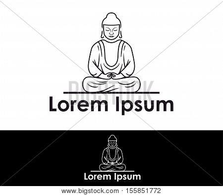 Buddhist Monk icon vector business identity logo