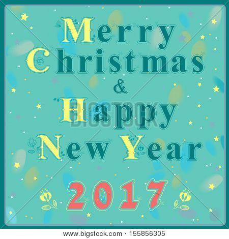 Christmas and New Year greeting card. Blue and yellow artistic font with floral decor. Red numerals - 2017. Blue background with watercolor numerals. Vector illustration. EPS 8