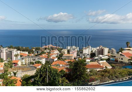 FUNCHAL, MADEIRA, PORTUGAL - SEPTEMBER 1, 2016: Panoramic view of Funchal on Madeira Island. Portugal