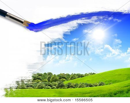 artist brush painting picture of summer nature