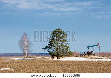 Ecology, Bionomics. Oil Pumps. Oil Industry Equipment. Beam Pumping Unit Oil And Gas