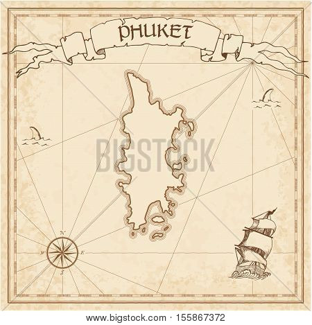 Phuket Old Treasure Map. Sepia Engraved Template Of Pirate Island Parchment. Stylized Manuscript On
