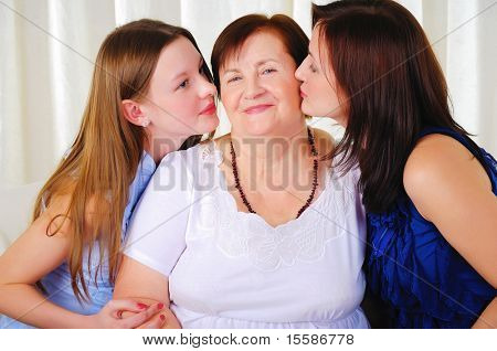 three generations of women together - mother, daughter and grandmother