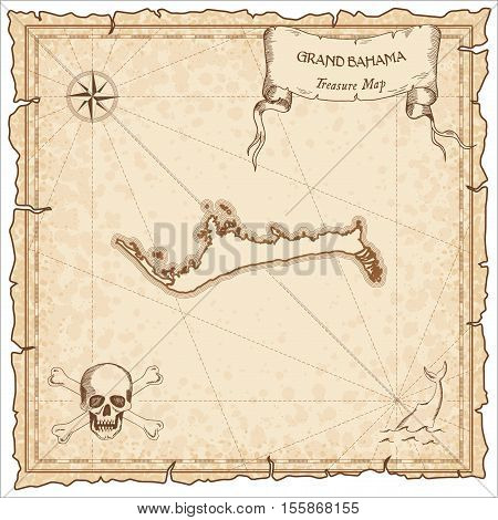 Grand Bahama Old Pirate Map. Sepia Engraved Parchment Template Of Treasure Island. Stylized Manuscri