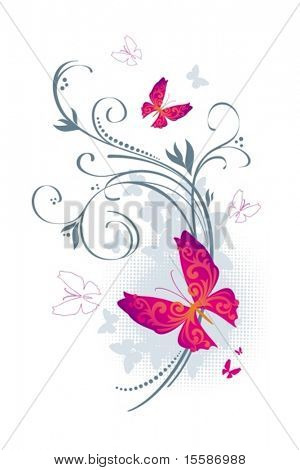 Butterflies and floral design elements