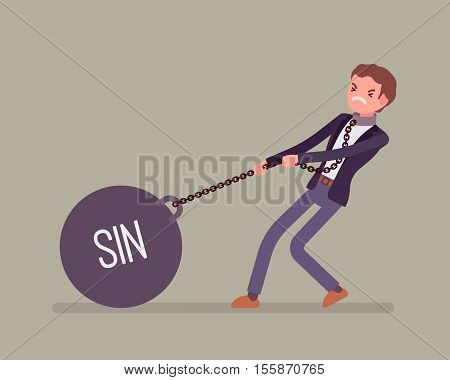 Businessman dragging a giant heavy weight on chain, written Sin on a ball. Cartoon vector flat-style concept illustration