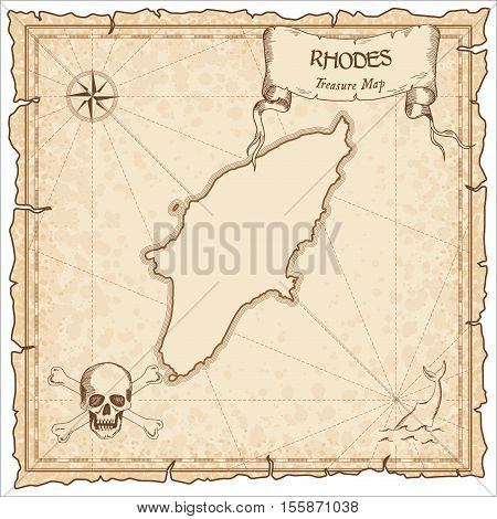 Rhodes Old Pirate Map. Sepia Engraved Parchment Template Of Treasure Island. Stylized Manuscript On