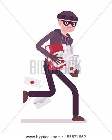 Thief, wearing a black mask, gloves and a black knit hat is runnig away with stolen documentation in his hands. Cartoon vector flat-style concept illustration
