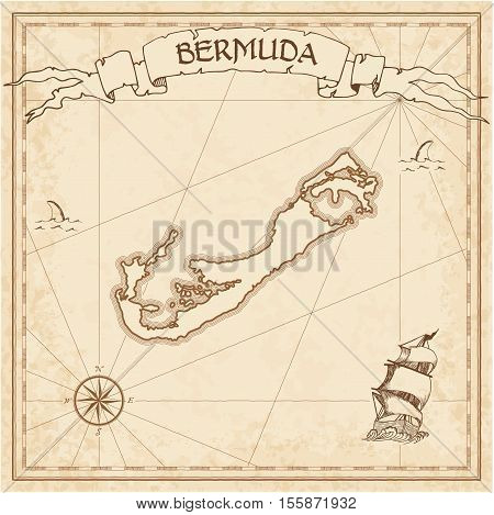 Bermuda Old Treasure Map. Sepia Engraved Template Of Pirate Island Parchment. Stylized Manuscript On