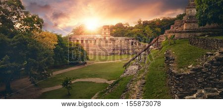 The panoramic view from the pyramid of Inscriptions and the Palace of the observatory tower in the ancient Mayan city of Palenque.