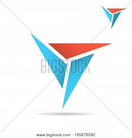 Triangle with sharp edges formes delta sign 2d vector illustration isolated on white background eps 10