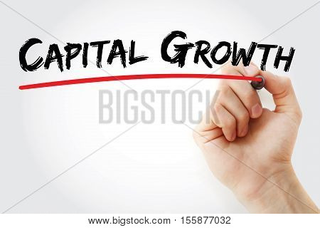 Hand Writing Capital Growth With Marker