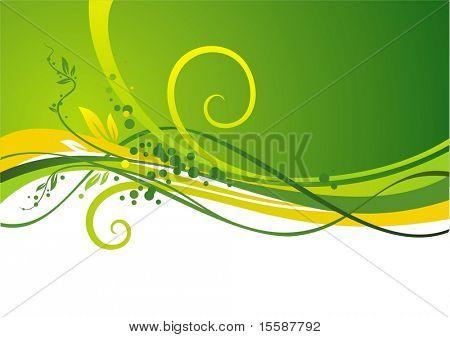 Diseño de color verde amarillo con ondas & hojas