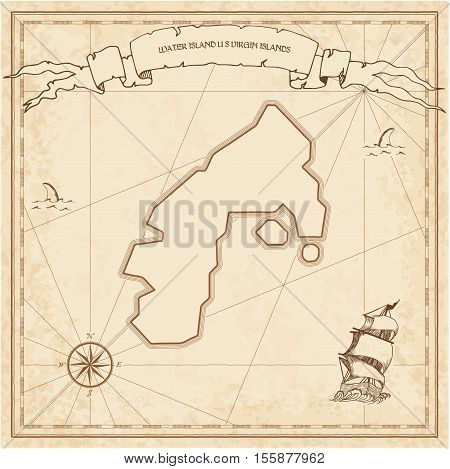 Water Island, U.s. Virgin Islands Old Treasure Map. Sepia Engraved Template Of Pirate Island Parchme