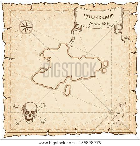 Union Island Old Pirate Map. Sepia Engraved Parchment Template Of Treasure Island. Stylized Manuscri