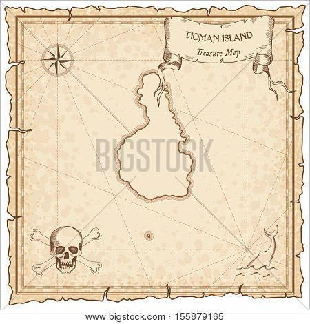 Tioman Island Old Pirate Map. Sepia Engraved Parchment Template Of Treasure Island. Stylized Manuscr