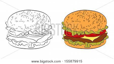 Two versions of burgers: a black outline and painted flat icon. Hamburger with bun with sesame seeds, beef or chicken patty, cheese, lettuce, tomatoes. Vector illustration for your design isolated on white background.