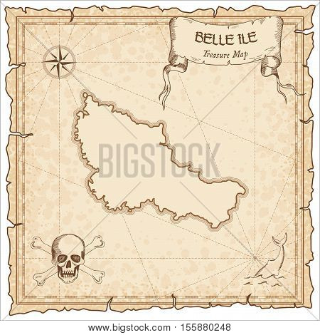 Belle Ile Old Pirate Map. Sepia Engraved Parchment Template Of Treasure Island. Stylized Manuscript