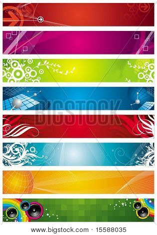 Eight banners on different themes, multi-coloured