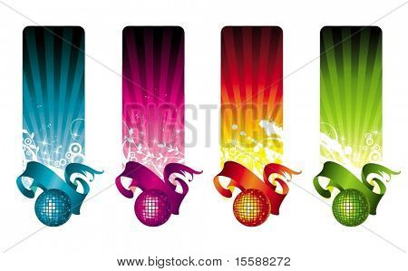 Multicolored disco banners