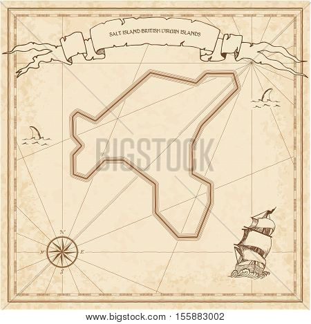 Salt Island, British Virgin Islands Old Treasure Map. Sepia Engraved Template Of Pirate Island Parch