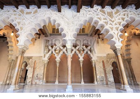 Arches and rooms of the Nord Porch within the Aljaferia Palace at Zaragoza Spain