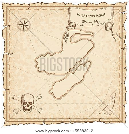 Nusa Lembongan Old Pirate Map. Sepia Engraved Parchment Template Of Treasure Island. Stylized Manusc