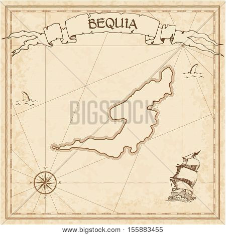 Bequia Old Treasure Map. Sepia Engraved Template Of Pirate Island Parchment. Stylized Manuscript On