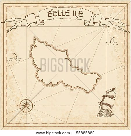Belle Ile Old Treasure Map. Sepia Engraved Template Of Pirate Island Parchment. Stylized Manuscript