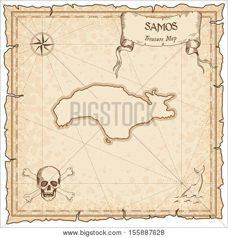 Samos Old Pirate Map. Sepia Engraved Parchment Template Of Treasure Island. Stylized Manuscript On V