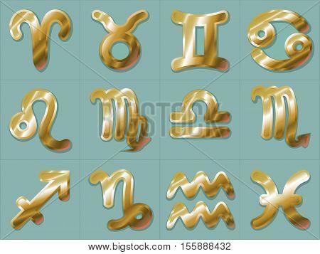 Golden Zodiac Signs Stickers Aries Taurus Gemini Cancer Leo Virgo Libra Scorpio Sagittarius Capricorn Aquarius and Pisces. Horoscope astrology symbols vector illustration on turquoise