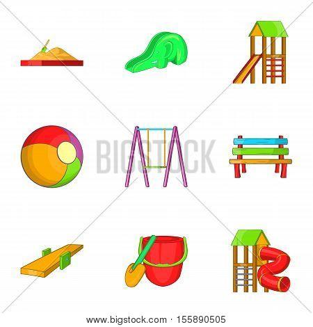 Entertainment for kid icons set. Cartoon illustration of 9 entertainment for kid vector icons for web
