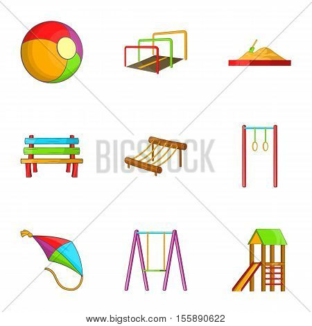 Attractions for children icons set. Cartoon illustration of 9 attractions for children vector icons for web