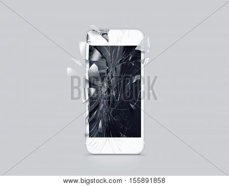 Damaged cell phone display scattered shards 3d rendering. Smartphone monitor broken mock up. Cellphone crashed and scratched. Telephone screen glass hit. Device destroy problem. Smash gadget repair