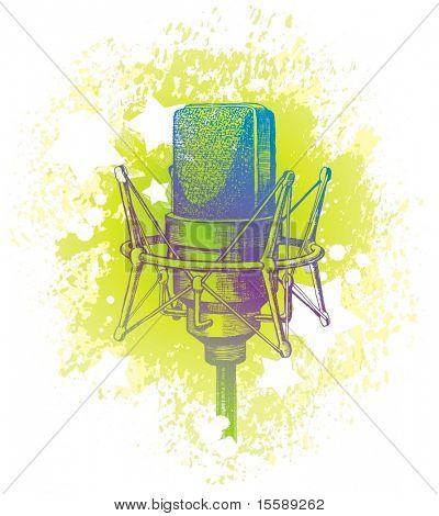 Hand drawn studio condenser microphone