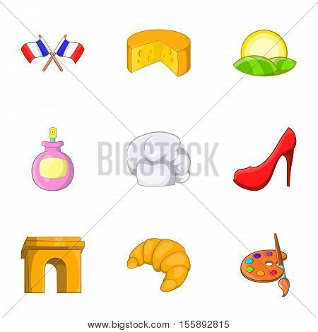 Stay in France icons set. Cartoon illustration of 9 stay in France vector icons for web