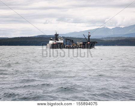 Commercial crab fishing vessel near Juneau Alaska
