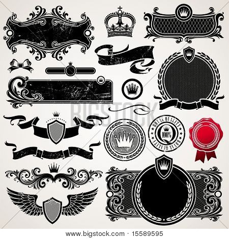 Set of royal ornate frames and elements