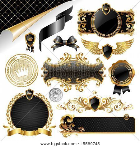 Gold & black collection of design elements