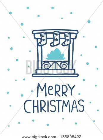 Vector Illustration Of Blue Color Stylized Christmas Fireplace With Socks And Handwritten Text Merry