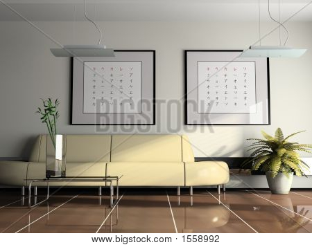 Office  Interior With Beige Sofa 3D Rendering