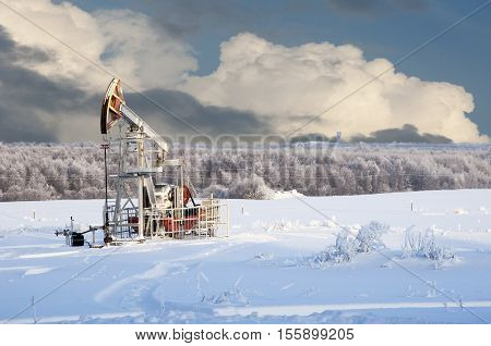 Rocking Oil. Oil Pumps. Oil Industry Equipment. Winter Landscape