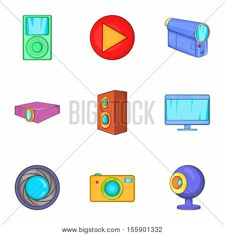 Electronic devices icons set. Cartoon illustration of 9 electronic devices vector icons for web