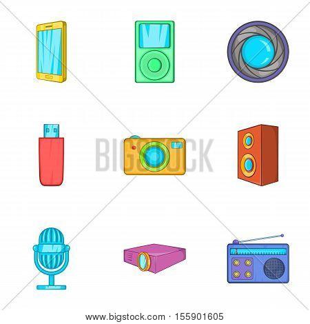 Electronics icons set. Cartoon illustration of 9 electronics vector icons for web