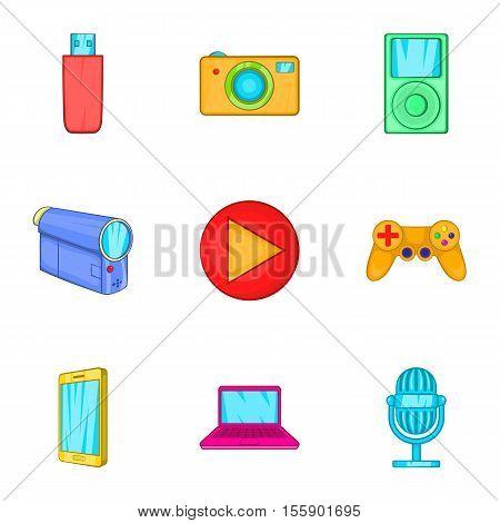 Electronic gadget icons set. Cartoon illustration of 9 electronic gadget vector icons for web