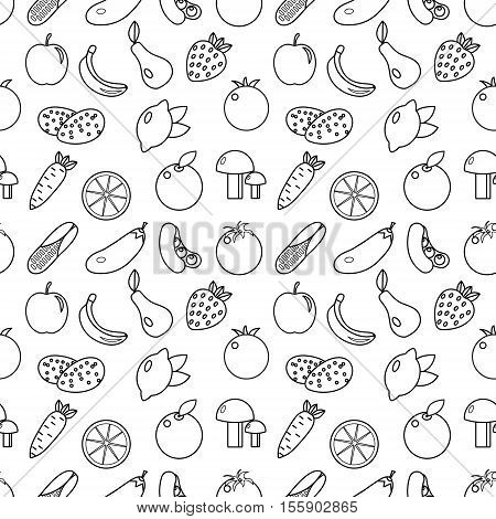 Fruits and vegetables line style seamless pattern. Fruits and Vegetables doodle seamless pattern. Fruits and vegetables outline background. Vegetarian food texture. Vector illustration