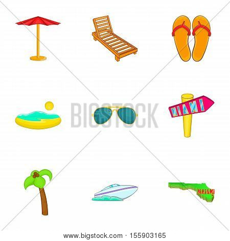 Stay in Miami icons set. Cartoon illustration of 9 stay in Miami vector icons for web