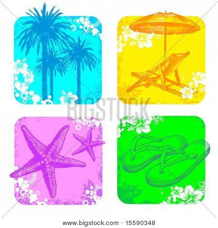 Tropical vector frame with hand drawn elements